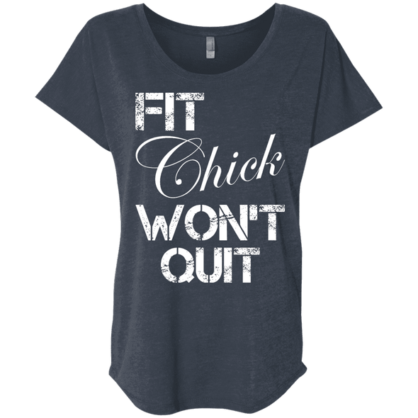 Fit Chick Won't Quit Tees Apparel CustomCat NL6760 Next Level Ladies' Triblend Dolman Sleeve Vintage Navy X-Small