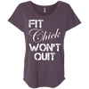 Fit Chick Won't Quit Tees Apparel CustomCat NL6760 Next Level Ladies' Triblend Dolman Sleeve Vintage Purple X-Small
