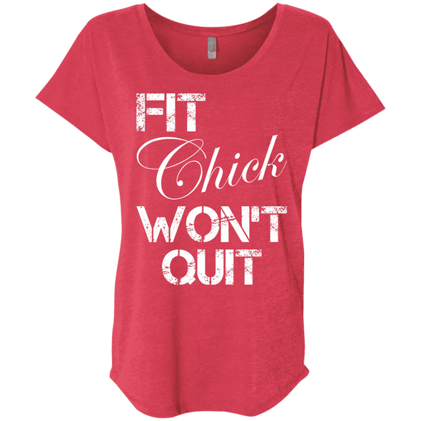 Fit Chick Won't Quit Tees Apparel CustomCat NL6760 Next Level Ladies' Triblend Dolman Sleeve Vintage Red X-Small