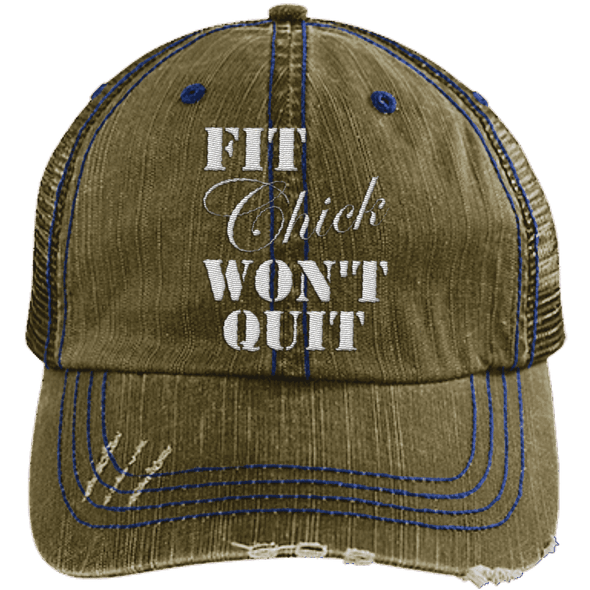 Fit Chick Won't Quit Trucker Cap Apparel CustomCat 6990 Distressed Unstructured Trucker Cap Brown/Navy One Size