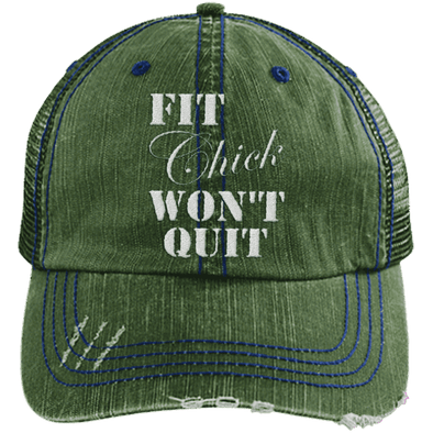 Fit Chick Won't Quit Trucker Cap Apparel CustomCat 6990 Distressed Unstructured Trucker Cap Dark Green/Navy One Size