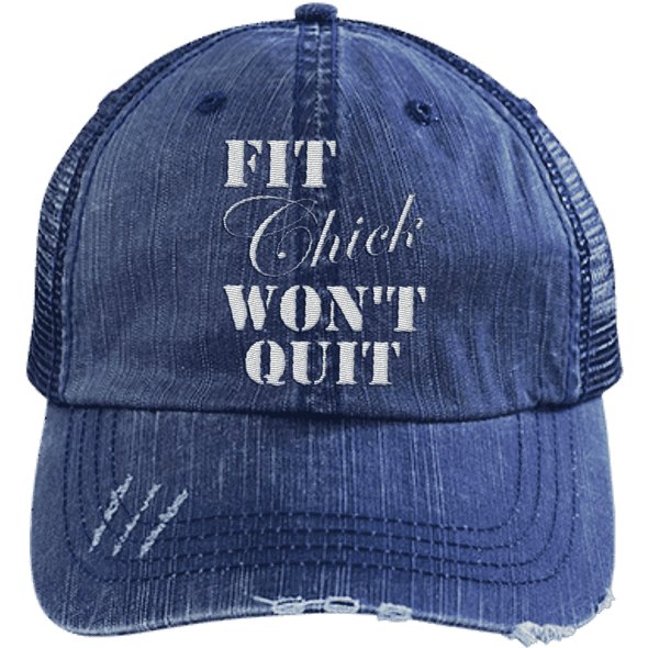 Fit Chick Won't Quit Trucker Cap Apparel CustomCat 6990 Distressed Unstructured Trucker Cap Navy/Navy One Size
