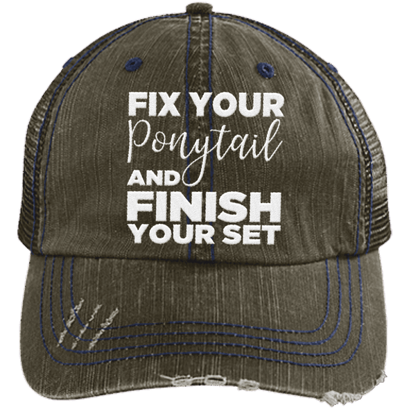 Fix Your Ponytail and Finish Your Set Trucker Cap Apparel CustomCat 6990 Distressed Unstructured Trucker Cap Brown/Navy One Size