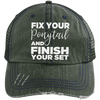 Fix Your Ponytail and Finish Your Set Trucker Cap Apparel CustomCat 6990 Distressed Unstructured Trucker Cap Dark Green/Navy One Size