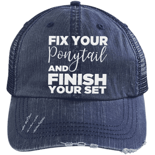 Fix Your Ponytail and Finish Your Set Trucker Cap Apparel CustomCat 6990 Distressed Unstructured Trucker Cap Navy/Navy One Size
