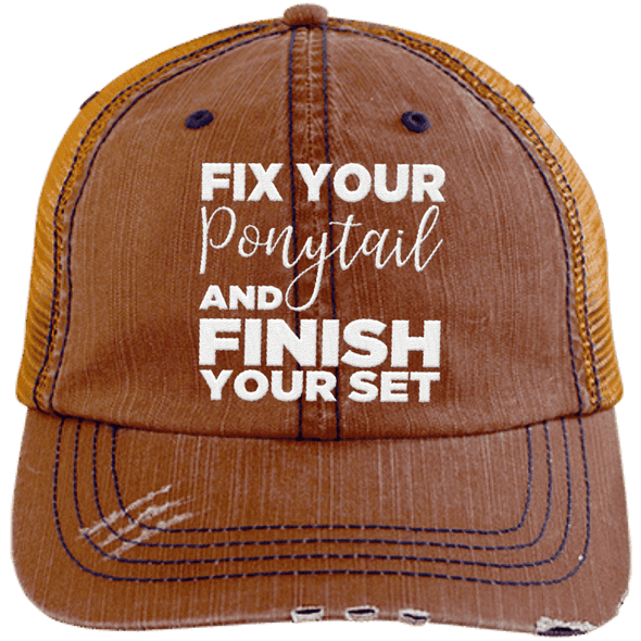 Fix Your Ponytail and Finish Your Set Trucker Cap Apparel CustomCat 6990 Distressed Unstructured Trucker Cap Orange/Navy One Size