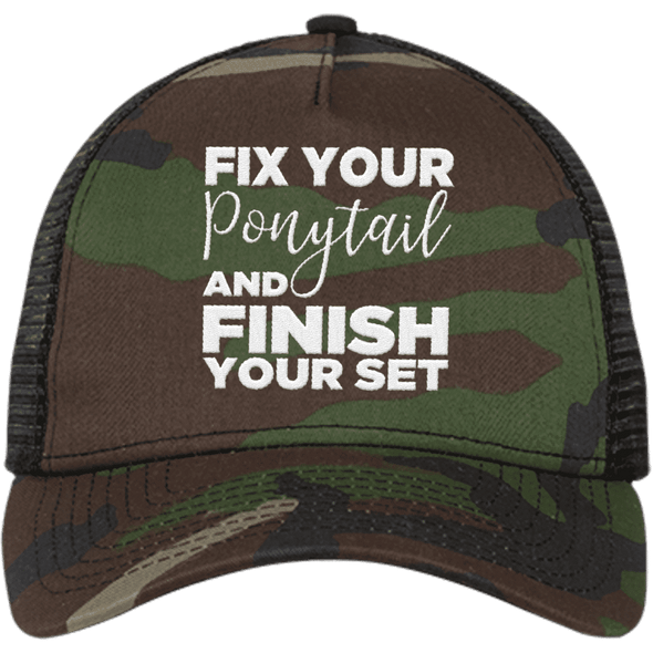 Fix Your Ponytail and Finish Your Set Trucker Cap Apparel CustomCat NE205 New Era® Snapback Trucker Cap Camo/Black One Size
