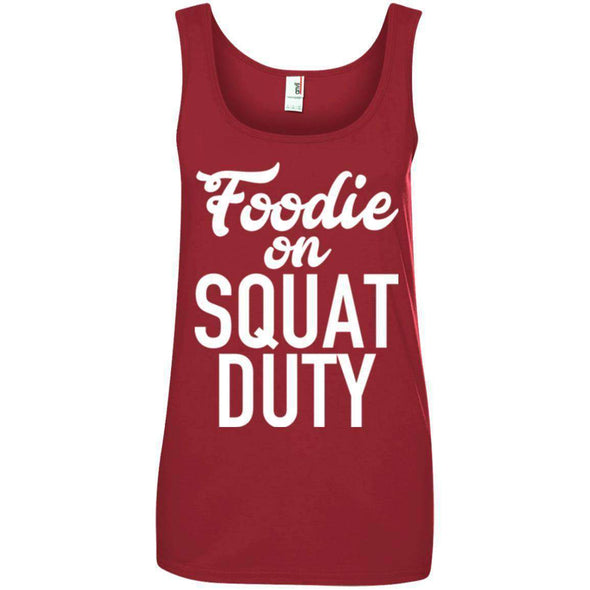 Foodie on Squat Duty T-Shirts CustomCat Red Small