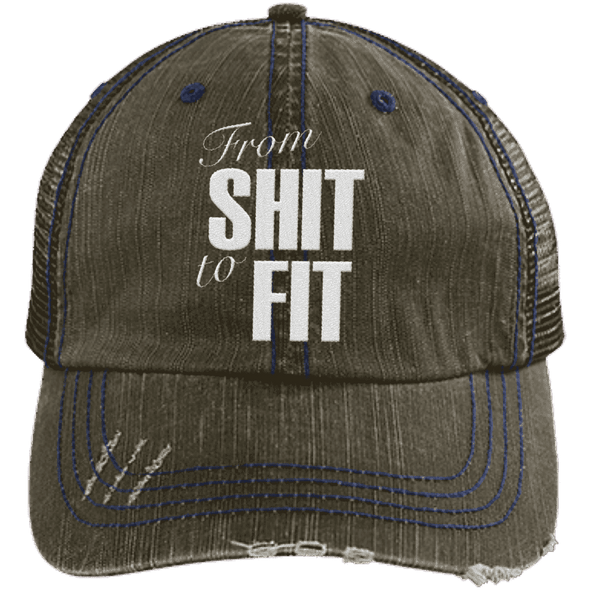 From Shit to Fit Trucker Cap Apparel CustomCat 6990 Distressed Unstructured Trucker Cap Brown/Navy One Size