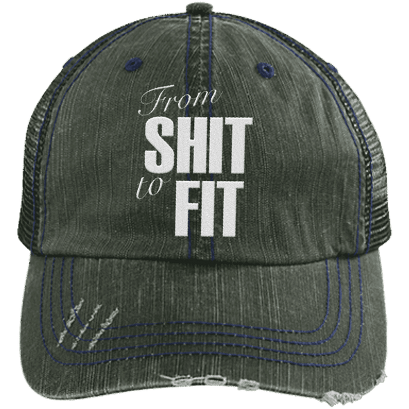 From Shit to Fit Trucker Cap Apparel CustomCat 6990 Distressed Unstructured Trucker Cap Dark Green/Navy One Size