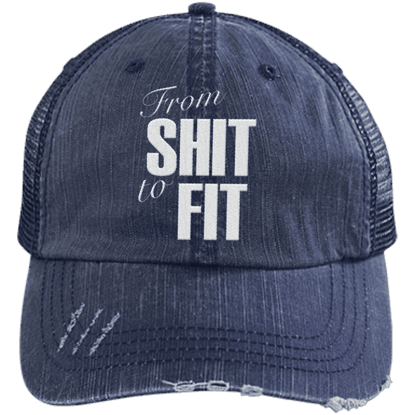 From Shit to Fit Trucker Cap Apparel CustomCat 6990 Distressed Unstructured Trucker Cap Navy/Navy One Size