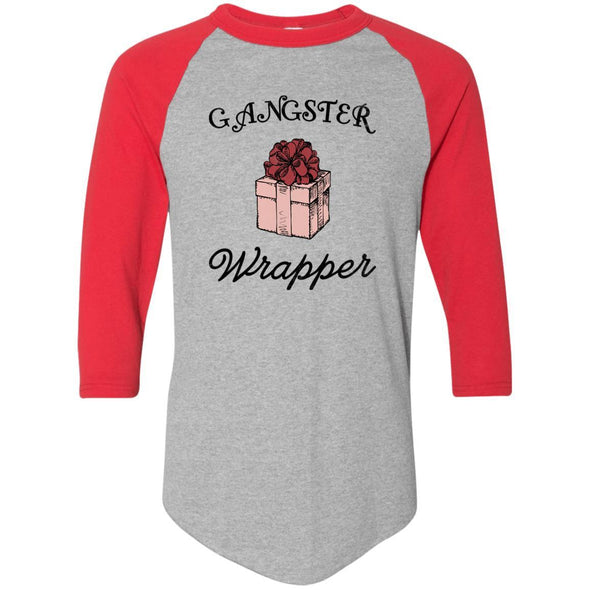 Gangster Wrapper Apparel CustomCat Raglan Jersey Athletic Heather/Red S