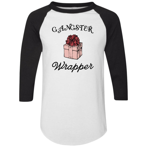 Gangster Wrapper Apparel CustomCat Raglan Jersey White/Black S