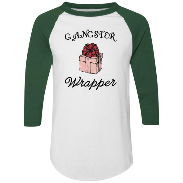 Gangster Wrapper Apparel CustomCat Raglan Jersey White/Dark Green S