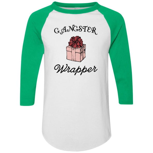 Gangster Wrapper Apparel CustomCat Raglan Jersey White/Kelly S