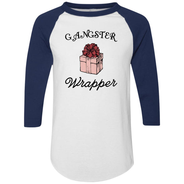 Gangster Wrapper Apparel CustomCat Raglan Jersey White/Navy S