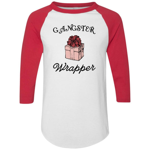 Gangster Wrapper Apparel CustomCat Raglan Jersey White/Red S