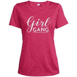 Girl Gang Dri-Fit Tee T-Shirts CustomCat Pink Raspberry Heather X-Small