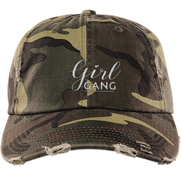 Girl Gang Hat Hats CustomCat Distressed Dad Cap Military Camo One Size
