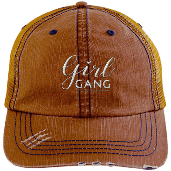 Girl Gang Hat Hats CustomCat Trucker Cap Orange/Navy One Size