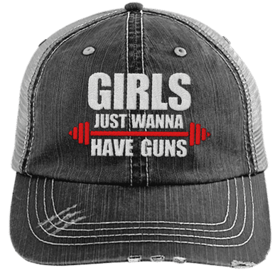 Girls Just Wanna Have Guns Distressed Trucker Cap Apparel CustomCat 6990 Distressed Unstructured Trucker Cap Black One Size
