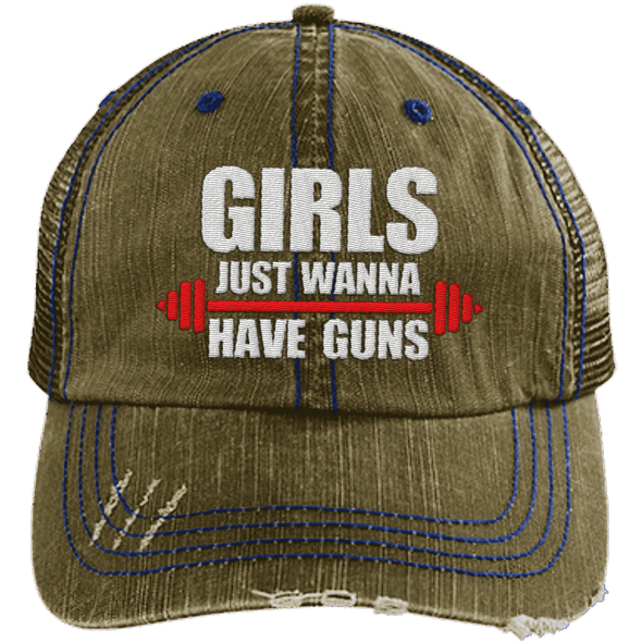 Girls Just Wanna Have Guns Distressed Trucker Cap Apparel CustomCat 6990 Distressed Unstructured Trucker Cap Brown One Size