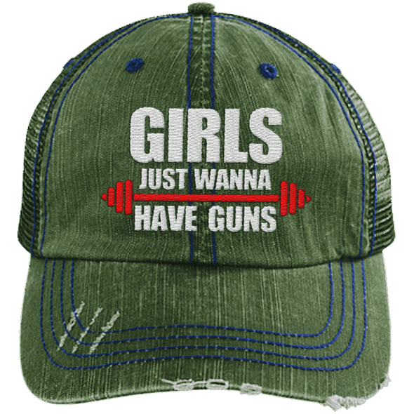 Girls Just Wanna Have Guns Distressed Trucker Cap Apparel CustomCat 6990 Distressed Unstructured Trucker Cap Green One Size