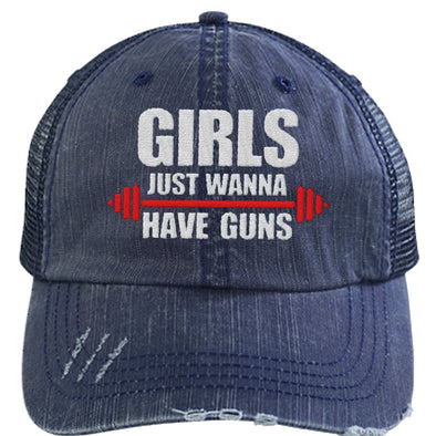Girls Just Wanna Have Guns Distressed Trucker Cap Apparel CustomCat 6990 Distressed Unstructured Trucker Cap Navy One Size