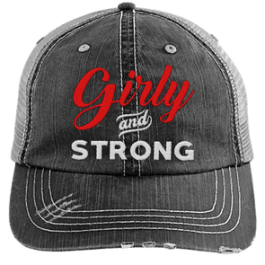 Girly & Strong red Hats CustomCat Black/Grey One Size