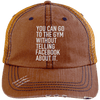 Go to the Gym Without Telling Facebook Trucker Cap Apparel CustomCat 6990 Distressed Unstructured Trucker Cap Orange/Navy One Size