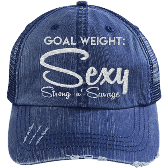 Goal Weigh, Sexy Stong n' Savage Hats CustomCat Navy/Navy One Size