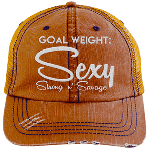 Goal Weigh, Sexy Stong n' Savage Hats CustomCat Orange/Navy One Size