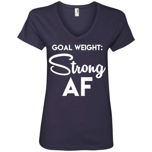 Goal Weight Strong AF T-Shirts CustomCat Navy Small