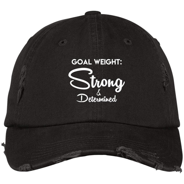 Goal Weight Strong & Determined Caps Apparel CustomCat Distressed Dad Cap Black One Size