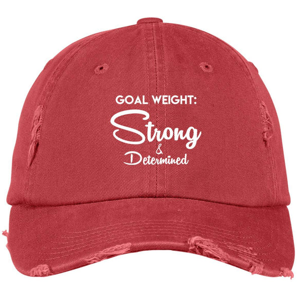 Goal Weight Strong & Determined Caps Apparel CustomCat Distressed Dad Cap Dashing Red One Size