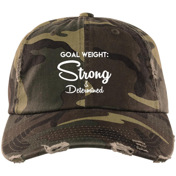 Goal Weight Strong & Determined Caps Apparel CustomCat Distressed Dad Cap Military Camo One Size