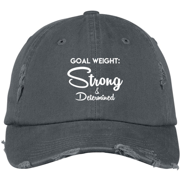 Goal Weight Strong & Determined Caps Apparel CustomCat Distressed Dad Cap Nickel One Size