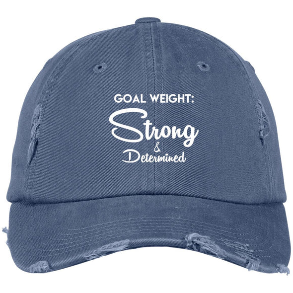 Goal Weight Strong & Determined Caps Apparel CustomCat Distressed Dad Cap Scotland Blue One Size