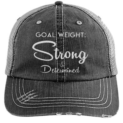 Goal Weight Strong & Determined Caps Apparel CustomCat Distressed Unstructured Trucker Cap Black/Grey One Size