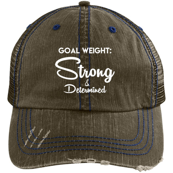 Goal Weight Strong & Determined Caps Apparel CustomCat Distressed Unstructured Trucker Cap Brown/Navy One Size