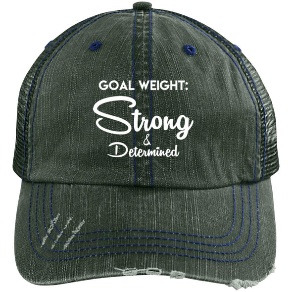Goal Weight Strong & Determined Caps Apparel CustomCat Distressed Unstructured Trucker Cap Dark Green/Navy One Size