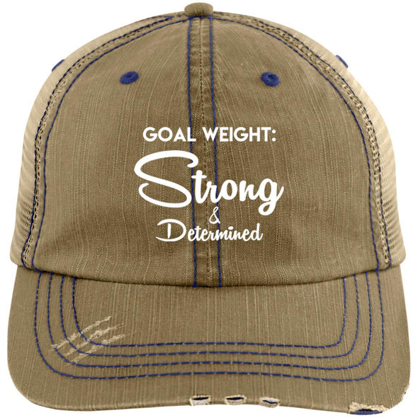 Goal Weight Strong & Determined Caps Apparel CustomCat Distressed Unstructured Trucker Cap Khaki/Navy One Size