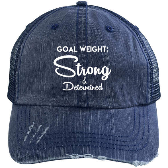 Goal Weight Strong & Determined Caps Apparel CustomCat Distressed Unstructured Trucker Cap Navy/Navy One Size