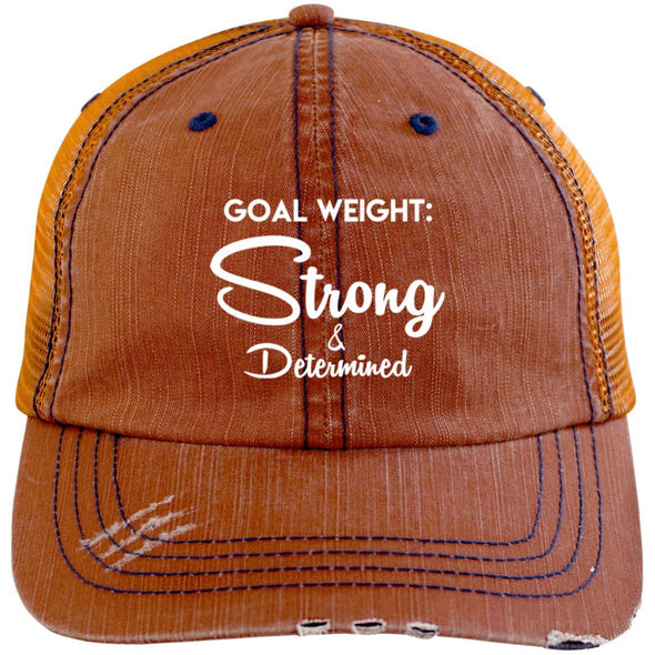 Goal Weight Strong & Determined Caps Apparel CustomCat Distressed Unstructured Trucker Cap Orange/Navy One Size