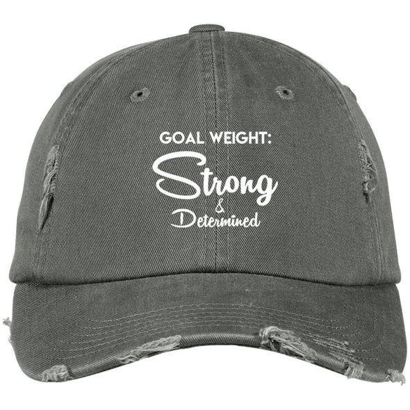 Goal Weight Strong & Determined Caps Apparel CustomCat DT60aDistressed Dad Cap0 Distressed Dad Cap Light Olive One Size