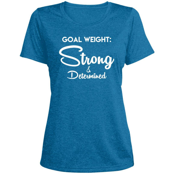 Goal Weight Strong & Determined Dri-Fit T-Shirt T-Shirts CustomCat Blue Wake Heather X-Small