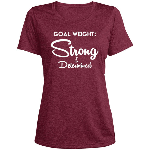 Goal Weight Strong & Determined Dri-Fit T-Shirt T-Shirts CustomCat Cardinal Heather X-Small