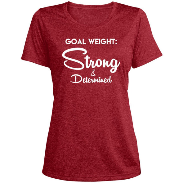 Goal Weight Strong & Determined Dri-Fit T-Shirt T-Shirts CustomCat Scarlet Heather X-Small
