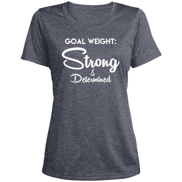 Goal Weight Strong & Determined Dri-Fit T-Shirt T-Shirts CustomCat True Navy Heather X-Small