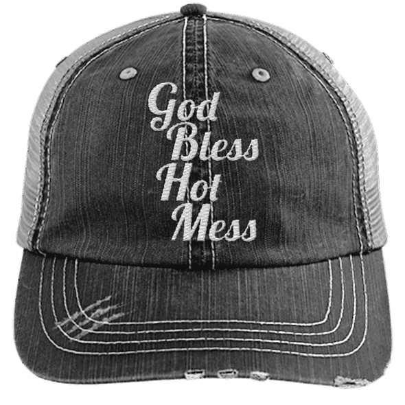 God Bless Hot Mess Trucker Cap Apparel CustomCat 6990 Distressed Unstructured Trucker Cap Black/Grey One Size